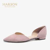 【 立减120】哈森2019夏季新款尖头平底女鞋 羊反绒包头休闲百搭凉鞋女HM96403