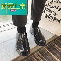 新品上市18四季款休闲韩版皮鞋英伦潮男士短靴日系朋克低帮男鞋潮 黑色