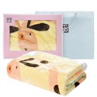 四季款婴儿毛毯礼盒 新生儿盖毯宝宝云毯 幼儿园卡通小毯子 长劲鹿米黄1kg(精装礼盒)