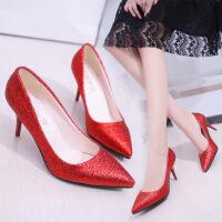 女式单鞋新款尖头高跟纯色女鞋亮片浅口女鞋套脚女士高跟鞋