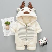 婴儿衣服0冬装男女宝宝3-6个月新生儿冬季连体衣加绒加厚外出抱衣