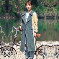 新颖潮牌我的莫格利男孩杨紫凌熙明星同款牛仔拼接风衣外套女秋冬韩版大衣 卡其色