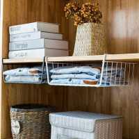 厨房橱柜隔板下挂篮衣柜收纳架储物架宿舍办公桌挂架整理架置物架
