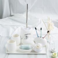 纯白卫浴五件套简约陶瓷洗漱四件套浴室用品套装件结婚洗漱套装