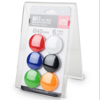 得力7822/7823教具磁力扣15/40mm磁扣吸贴黑板磁铁贴彩色磁铁6/12个一卡