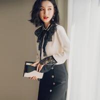 2019秋季韩版新款长袖衬衣设计感小众很仙心机上衣洋气雪纺衬衫