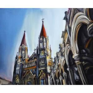 刘佳腾 当代青年油画家 《张庄天主教堂》 木板油画 40x50cm