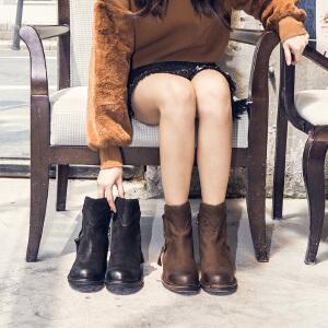玛菲玛图高跟短靴女秋季2019新款短筒靴圆头时装靴朋克风粗跟侧拉链马丁靴X2-3W