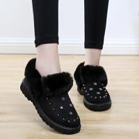 铆钉雪地靴女短靴2018冬季加绒保暖毛毛鞋平底防滑短筒保暖女棉鞋