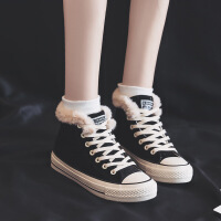 加厚平底板鞋女ins超火麂皮绒高帮加绒保暖棉鞋2018韩版冬季休闲