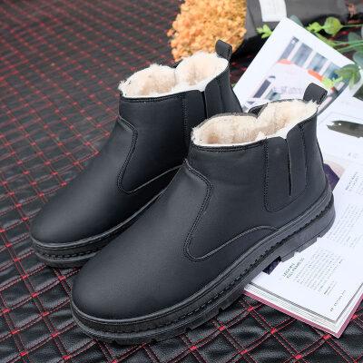 雪地靴男冬季保暖加绒东北加厚棉鞋皮毛一体短靴中帮防水防滑皮靴 H333 黑色
