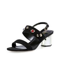 【 限时4折】哈森 夏季新款羊皮一字扣带休闲女鞋 异形高跟仙女风凉鞋HM81455