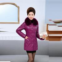 冬装羽绒妈妈装大码中长款棉袄2018新款中老年女皮棉衣外套