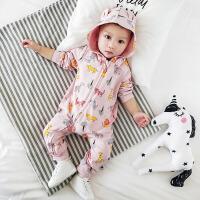 婴儿衣服秋装0-6-12个月新生儿连体衣男女宝宝爬服秋季外出服抱衣