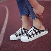 学生低帮方格防水台平底运动拖鞋休闲外穿半包头拖鞋女鞋