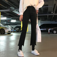 牛仔裤女春季2019新款韩版高腰直筒裤微喇叭裤网红百搭九分裤