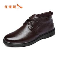 红蜻蜓男鞋秋冬款男士皮鞋加绒保暖皮鞋舒适休闲简约潮