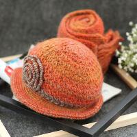 帽女 帽子围巾两件套 韩版羊保毛线手工暖套装加绒厚