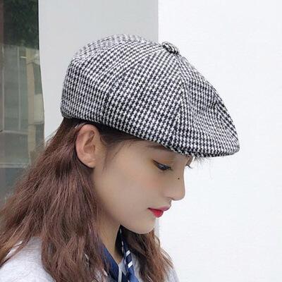 韩版帽子女复古格子贝雷帽夏季薄款透气小清新户外百搭八角帽