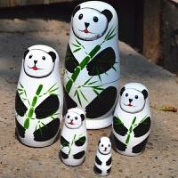 手绘 俄罗斯套娃5层熊猫娃娃木制益智玩具 纯手工精品套娃送老外