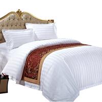 星级酒店三四件套宾馆床上用品床单被套棉单双人简约白色y