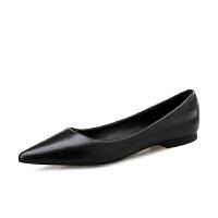 2018秋季平底鞋女尖头浅口职业工作单鞋绒面平跟百搭黑色女鞋黑色 黑色 皮面