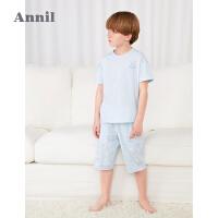 【2件4折价:95.6】安奈儿童装男童睡衣套装薄款2021新款中大童家居服透气夏季两件套