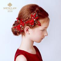 儿童头花演出发饰儿童礼服配饰儿童发饰 女童红色公主头饰发夹