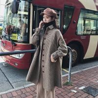 格子毛呢外套女中长款韩版休闲宽松直筒加厚小个子毛呢女学生 格子