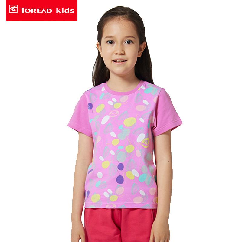 【3折到手价:45】探路者儿童童装 春夏新款户外童装女童落肩袖印花短袖T恤TTWK35221-D