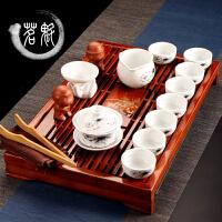 茶具茶盘套装 陶瓷 功夫茶具整套 实木茶盘茶海茶道