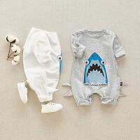 宝宝连体衣春秋婴儿衣服男外出服新生婴儿爬服可爱满月服