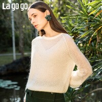 【5折价204.5】Lagogo/拉谷谷2019春季新款圆领灯笼袖纯色针织衫女IAMM412H03