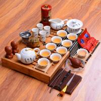 白瓷茶具套装 陶瓷 功夫茶具整套 实木茶盘茶海茶道