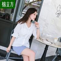 心机衬衫设计感超仙女小众夏季2019棉立方复古V领珍珠扣系带上衣