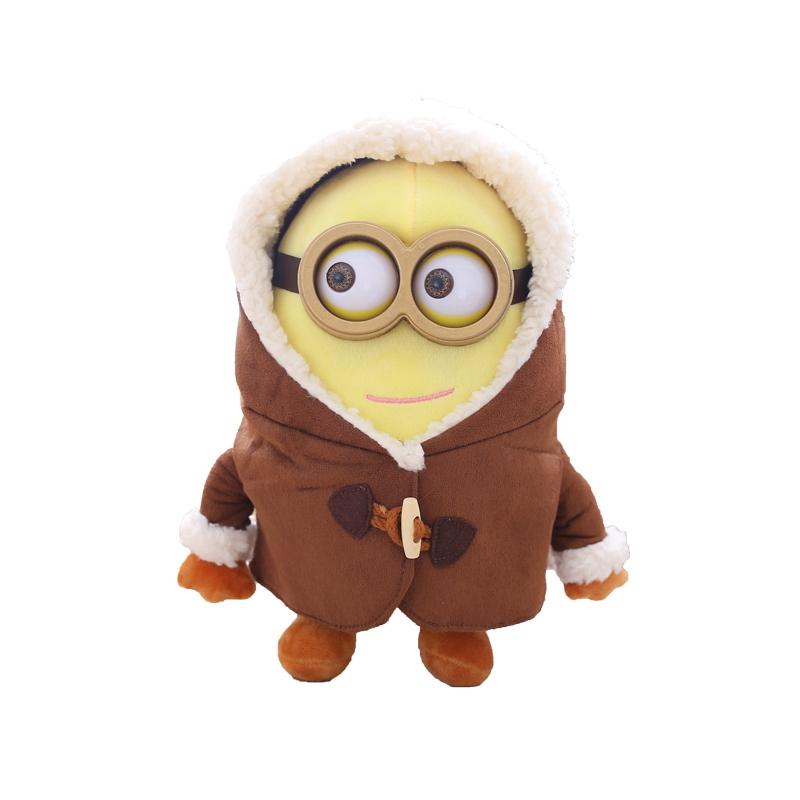 小黄人公仔 新款小黄人公仔毛绒玩具3D大眼萌抱枕靠垫布娃娃玩偶圣诞礼物 双眼微笑