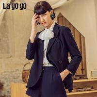 【清仓5折价251】Lagogo/拉谷谷2019春季新款时尚西装领腰带休闲外套女IAWW332M51