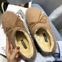 冬季豆豆鞋女毛毛鞋一脚蹬2019新款蝴蝶结网红加绒单鞋软底乐福