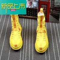 新品上市韩版高帮皮靴男马丁靴青年潮流高帮板鞋厚底增高鞋街头男鞋潮