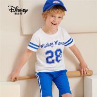 迪士尼童装2020夏新款男女童短袖短裤套装夏儿童休闲短袖两件套潮