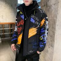 男士外套冬季韩版潮牌棉衣社会网红小伙精神2019新款加厚棉袄 黑色