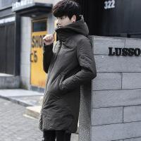 冬季中�L款羽�q服男士�n版修身青年加厚�B帽保暖白���q���馔馓壮�