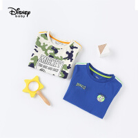 【2件3折价:40.2】迪士尼宝宝快乐星球男童针织潮流短袖T恤夏季新品