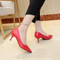 大码41-43高跟鞋女中跟5cm浅口红色婚鞋尖头银色礼服单鞋伴娘皮鞋