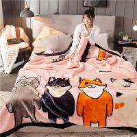 毛毯双层加厚冬季被子双人珊瑚绒毯子卡通单人学生宿舍盖毯