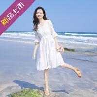 同款夏季白色雪纺连衣裙小清新学生度假沙滩裙韩版温柔超仙女裙子气质 白色 S 现货速发