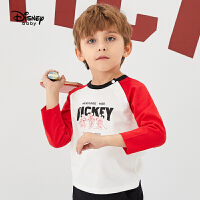 【2件3折后价:44.7元】迪士尼童装2020春季新款宝宝T恤男童帅气插肩袖上衣儿童打底衫