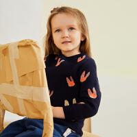 【2件88/3件8折后到手价:207.2元】马拉丁童装女小童毛衣冬装新款时尚图案套头圆领毛衣打底衫