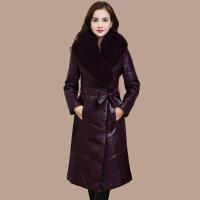 海宁皮衣修身中长款冬装加厚服女仿领皮草大衣外套潮
