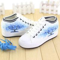 内增高学生韩版松糕女鞋单鞋女女士皮面小白鞋低帮帆布鞋秋季厚底